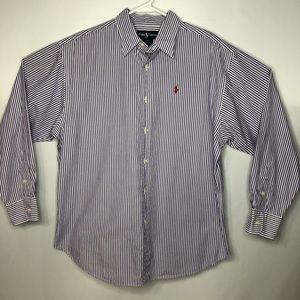 Ralph Lauren White w/Purple Striped Dress Shirt